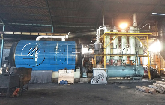 Beston Small Scale Tyre Recycling Plant Assembled in Indonesia