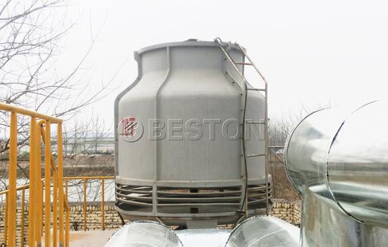 Cooling system in the waste plastic pyrolysis plant