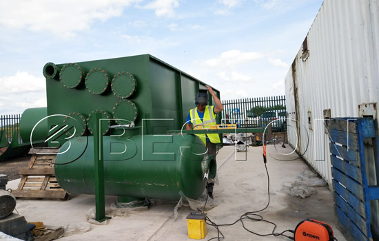 Pyrolysis machine was assembled in England with the assistant of Beston engineers